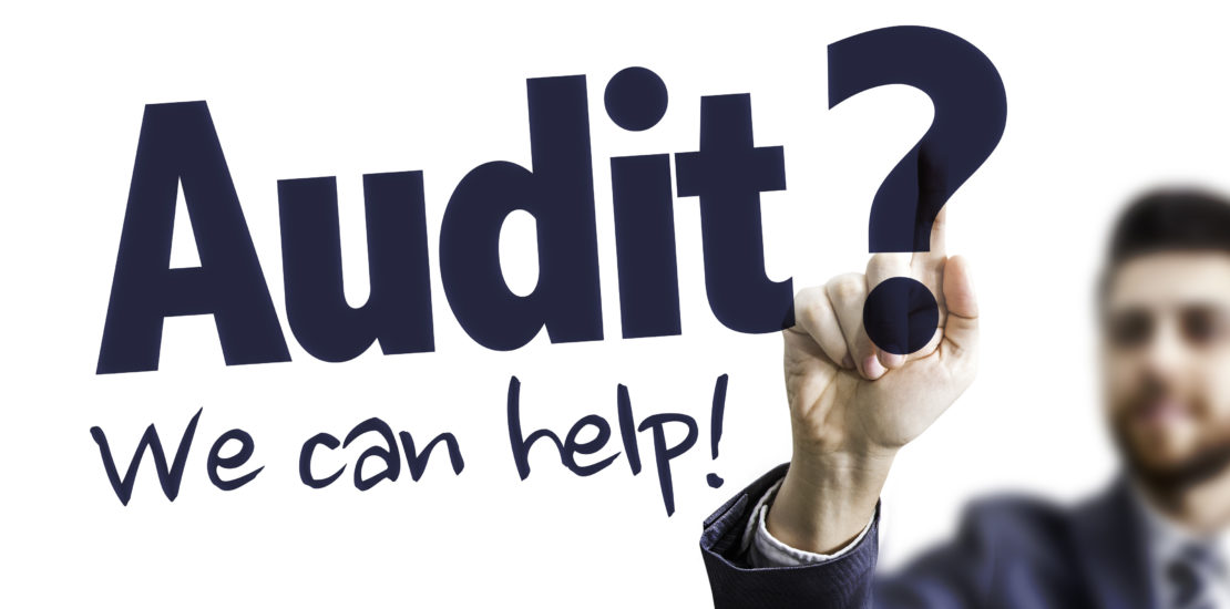 Business Man Pointing the Text: Audit? We Can Help!